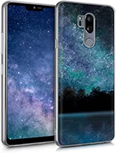 kwmobile Case Compatible with LG G7 ThinQ/Fit/One - TPU Crystal Clear Back Protective Cover IMD Design - Cosmic Forest Blue/Black