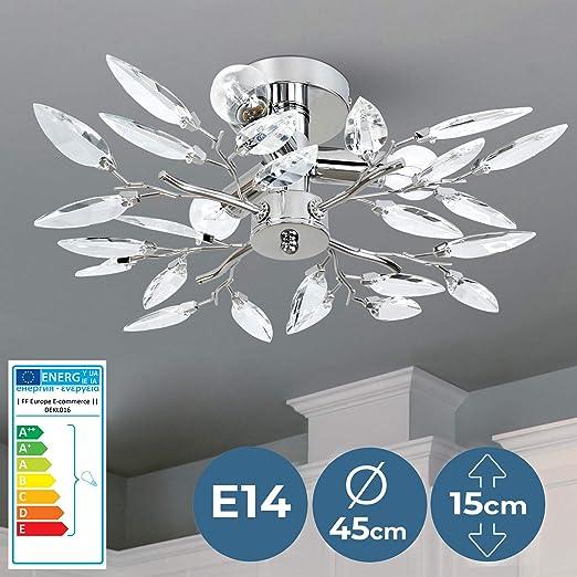 Deckenlampe LED modern dimmbar Chrom Ø 45cm Lampen für Wohnzimmer Esszimmer