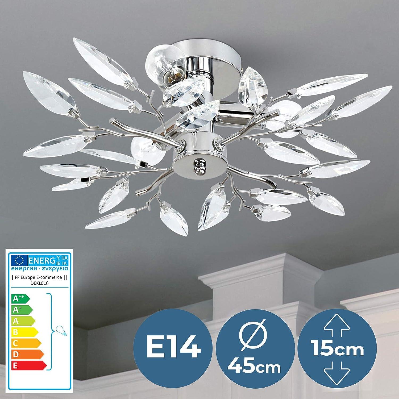 Lámpara de Techo | CEE: A++ a E, en Forma de Hojas, Ø45cm, 3xE14, Redondo, Moderna, Transparente | Luz de Techo, Iluminación Interior | para Sala de ...