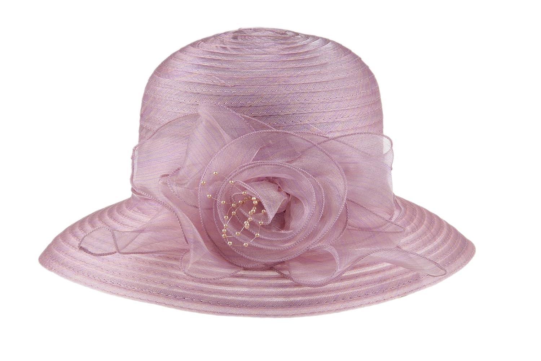 Dantiya Women's Organza Wide Brim Floral Ribbon Kentucky Derby Church Dress Sun Hat 2 Style- Grey)