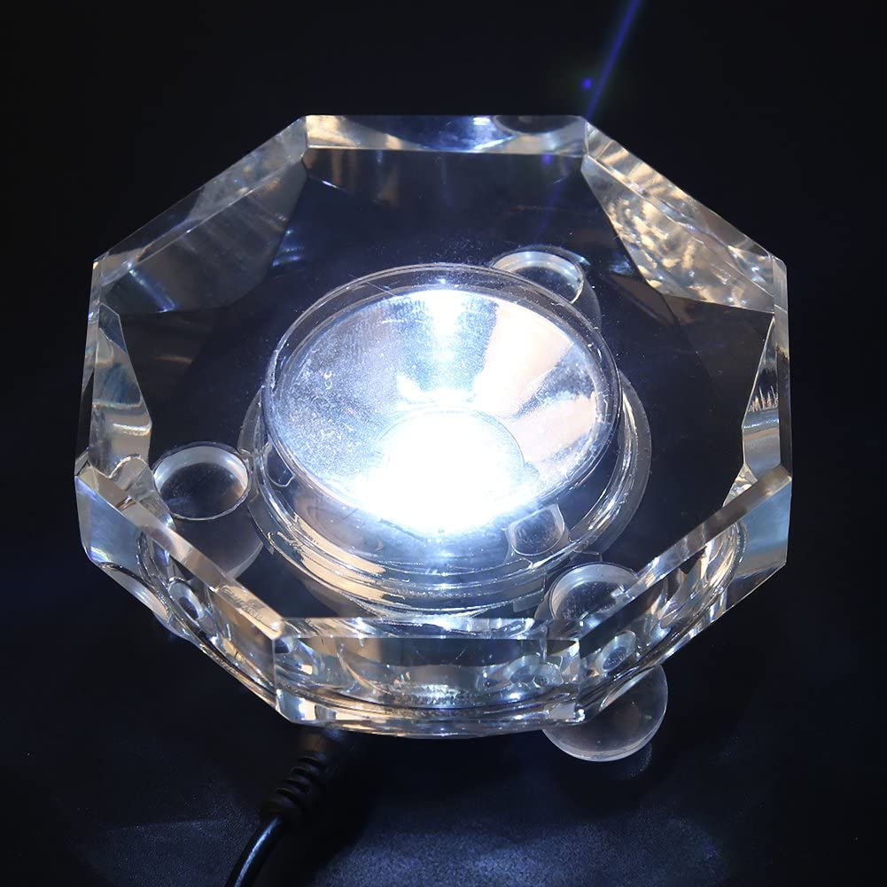 Walfront Transparent LED Lamp White Light Crystal Glass Display Base Stand Holder Round with US Adapter