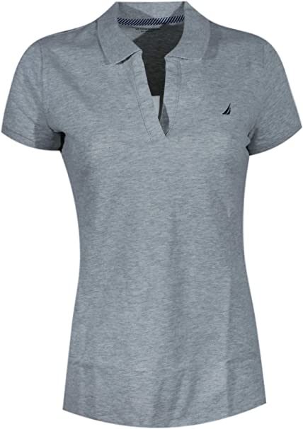 Nautica Women Split-Neck Polo Shirt (X-Large, Grey Heather (Black ...