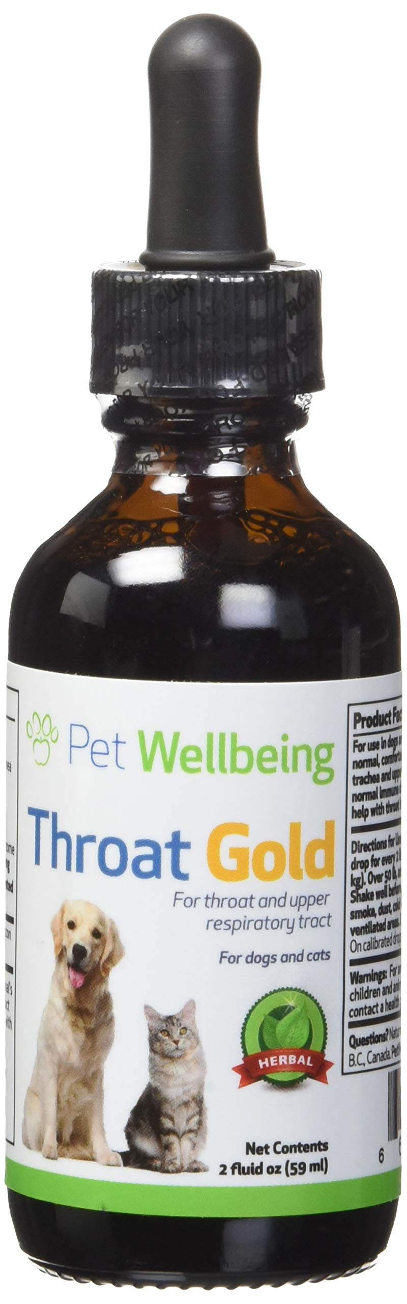 Pet Wellbeing Throat Gold for Dogs - Natural Herbal Cough, Throat and Respiratory Support for Canines - 2 oz (59ml) by Pet Wellbeing