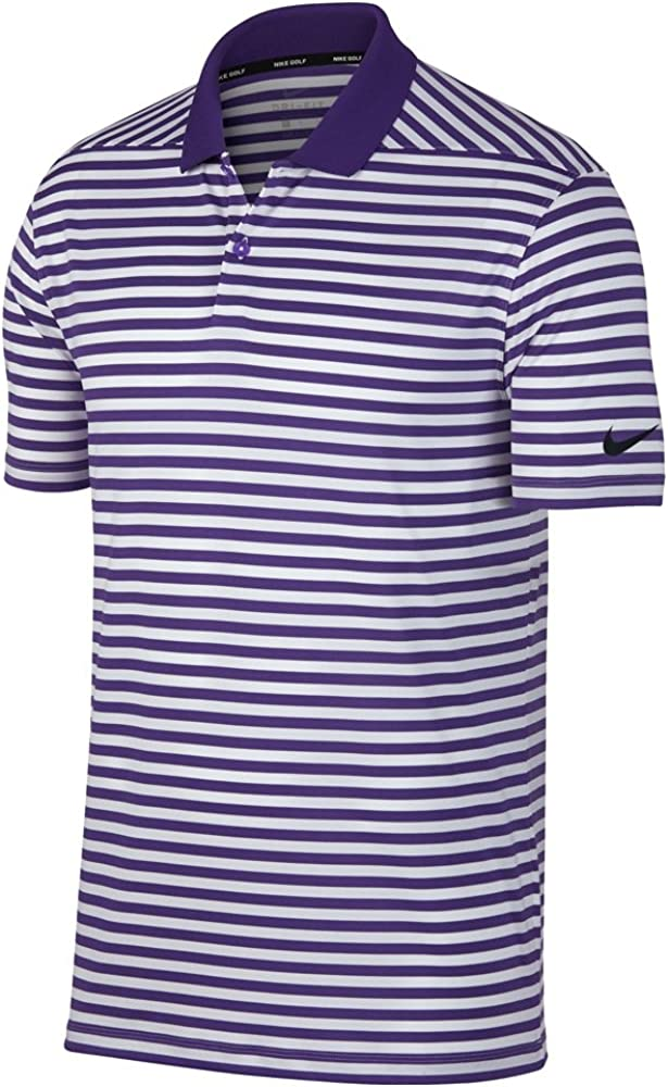 NIKE New DRI FIT Victory Stripe Golf Polo Court Purple/White/Black ...