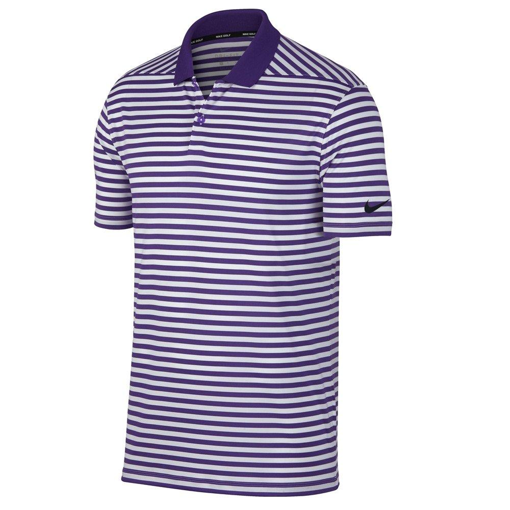 Nike New DRI FIT Victory Stripe Golf Polo Court Purple/White/Black Small by Nike (Image #1)
