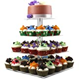 4 Tier Square Cupcake Stand Dessert Display Holders Clear Stacked Party Cupcake Tree Tiered Cake Stand Cupcake Tower for Wedding, Happy Birthday(4 Tier Square Rod)- DYCacrlic