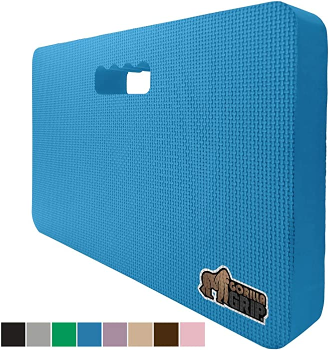 Gorilla Grip Original Premium Thick Kneeling Pad, Comfortable Foam Mat to Kneel On, Knee Pad Cushion for Gardening, Yard Work, Yoga, and Floor Kneeler for Baby Bath, 17.5 x 11 Inch x 1.5 Inch, Blue