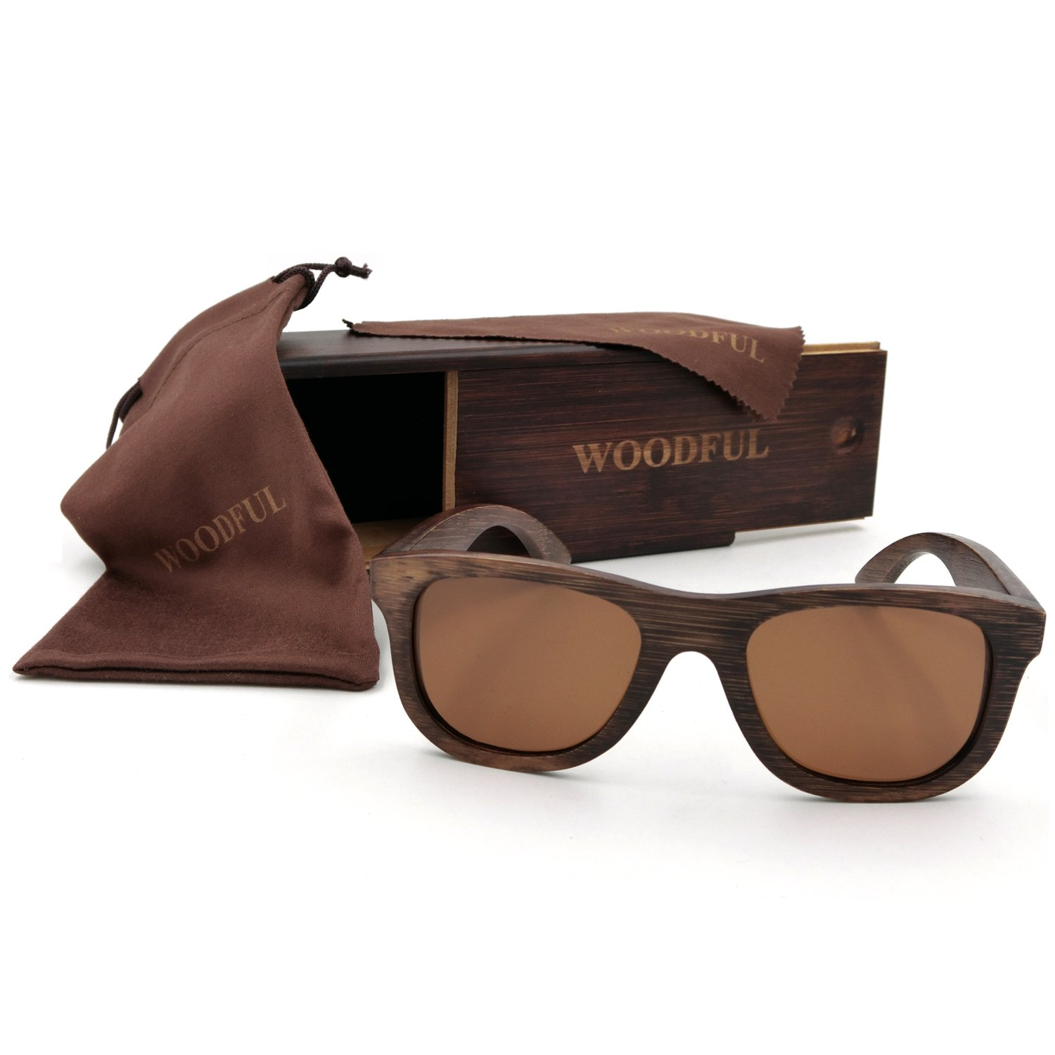 100% Wooden Glasses Wood Eyeglass with Polarized Lens Sunglasses
