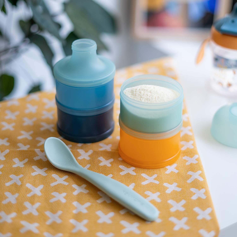 sp/ülmaschinenfest mehrfarbig mit 4 F/ächern und Schraubverschluss 166 g Suavinex Milchaufsch/äumer aus Pulver und Getreide blau