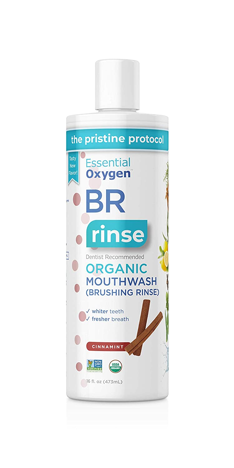 Essential Oxygen BR Certified Organic Brushing Rinse, All Natural Mouthwash for Whiter Teeth, White, Cinnamint, 16 Ounce (Pack of 1)