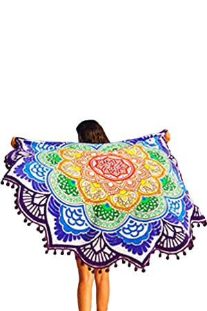 Secret Boutique Online Mandala Lotus Colorful Toalla de Playa Redondo Manta de Playa Boho Tapiz