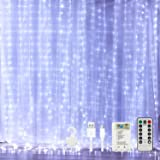 Curtain String Lights for Bedroom Twinkle - 300 Led Fairy String Lights Battery Operated or USB Powered, 9.8x9.8ft Window Cur