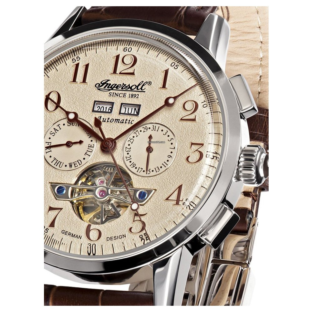 Ingersoll IN4411CR correa de piel color marrón de la esfera de un reloj de color marrón: Amazon.es: Relojes