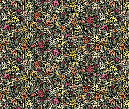 Daisies Fabric Hazy Daisy Meadow by Stitchyrichie Printed on Kona Cotton Ultra Fabric by the Yard by (Hazy Daisy)