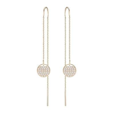 garantie de haute qualité paquet à la mode et attrayant moins cher Swarovski Boucles d'oreilles Ginger Chain, blanc, plaqué or rose