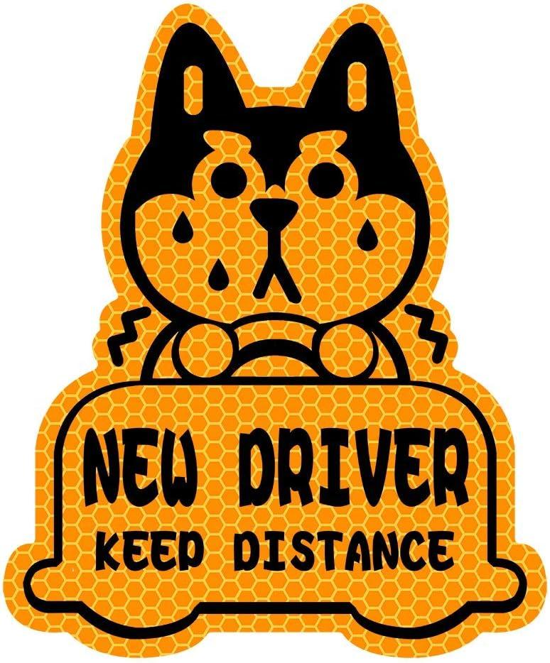 biinfu New Driver Reflective Sticker Car Decal,Keep Distance Sticker,for Student Driver-Orange