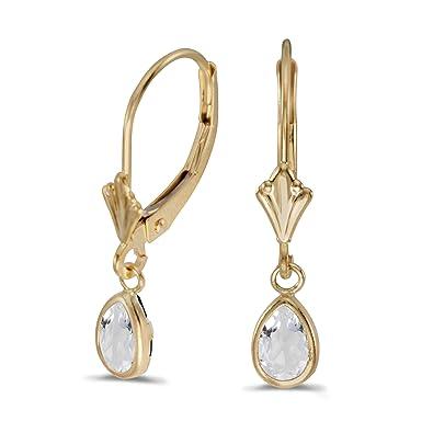 ac8ab6fba5470 14k Yellow Gold Pear White Topaz Bezel Lever-back Earrings