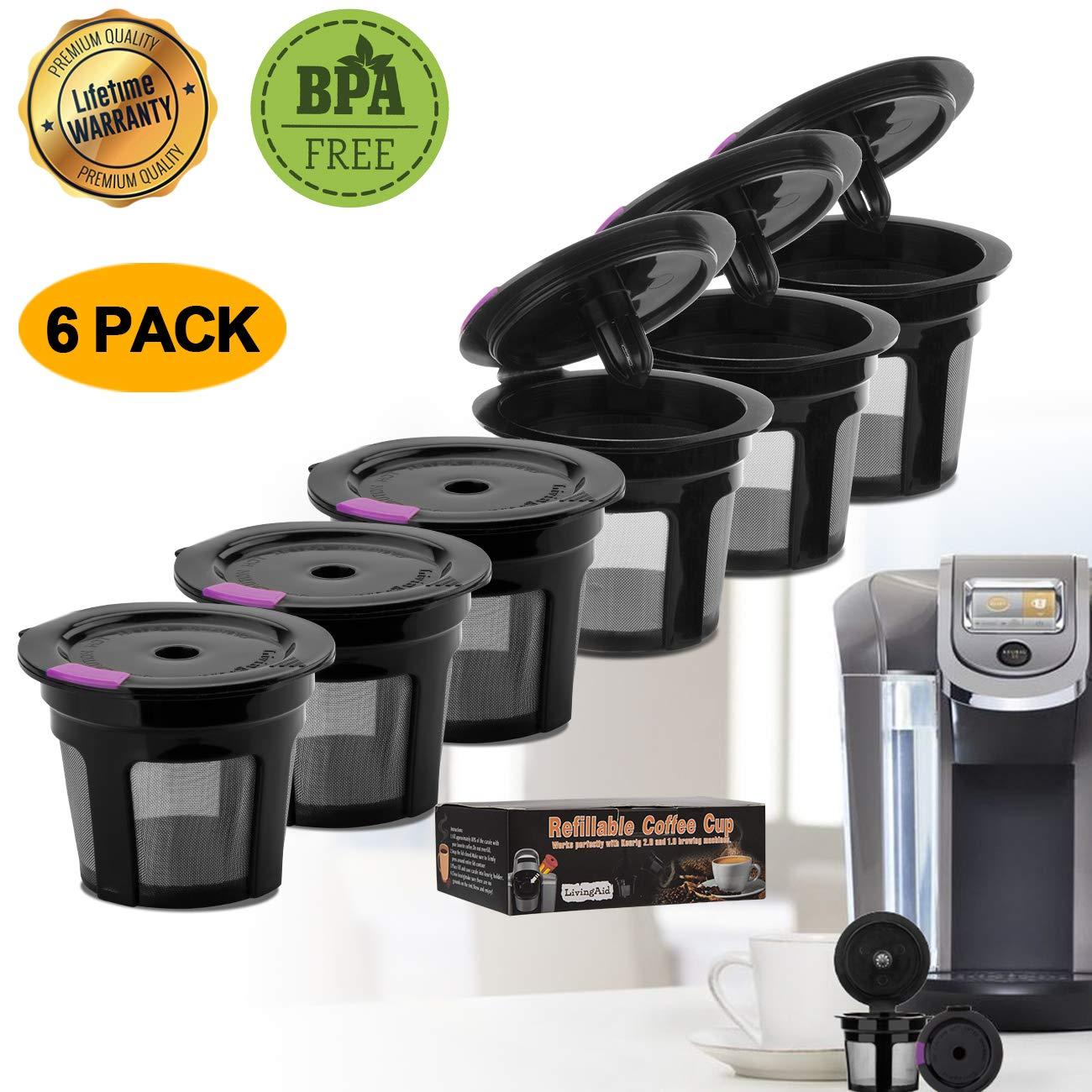LivingAid 再利用可能 Kカップ コーヒー Kカップ 再利用可能 コーヒーポッドフィルター Keurig Brewers 1.0 または 2.0 Machine BPAフリー (ブラック) 6個パック   B07PQFGDTL
