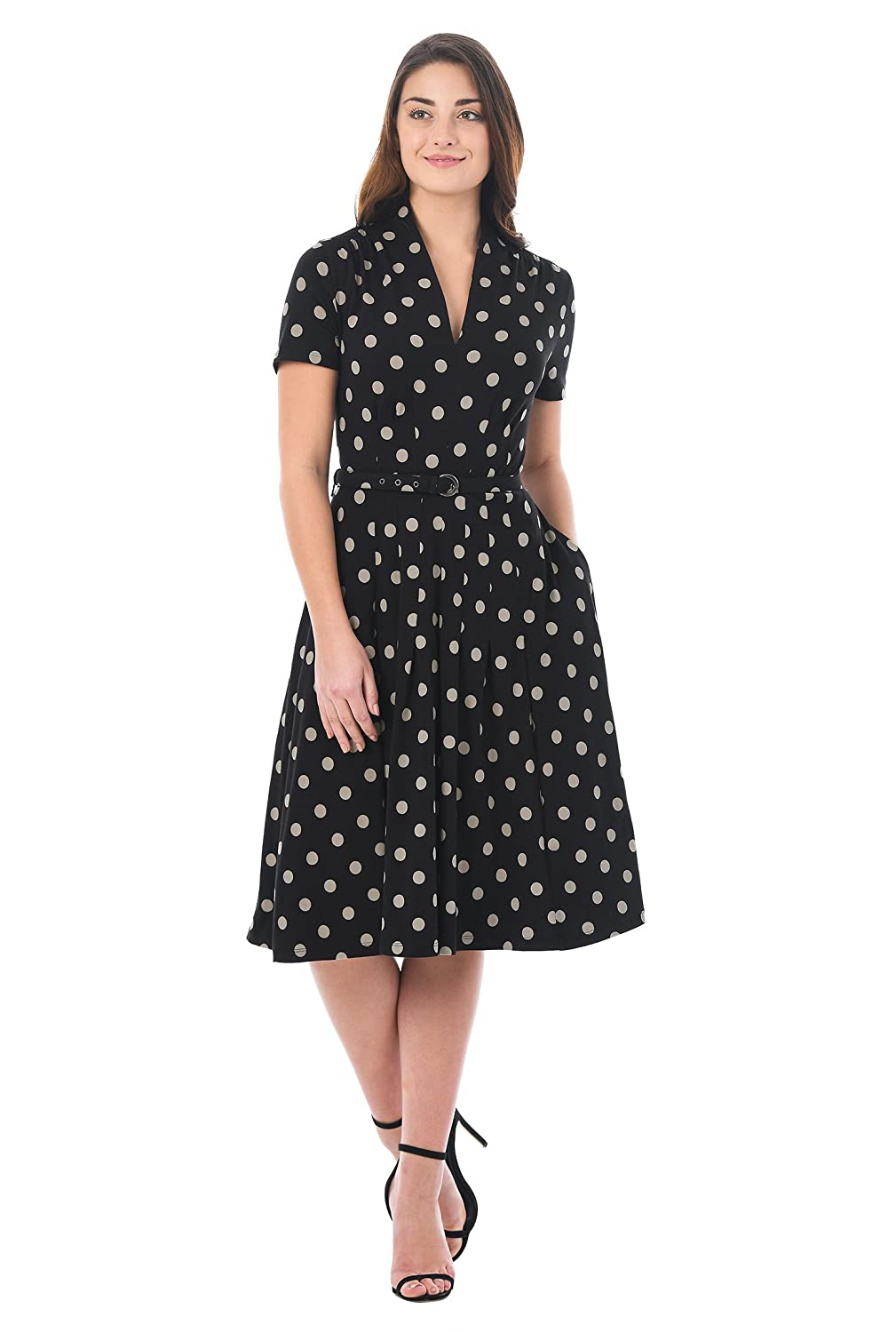 1940s Style Dresses | 40s Dress, Swing Dress Polka Dot Cotton Knit Belted Dress $54.95 AT vintagedancer.com