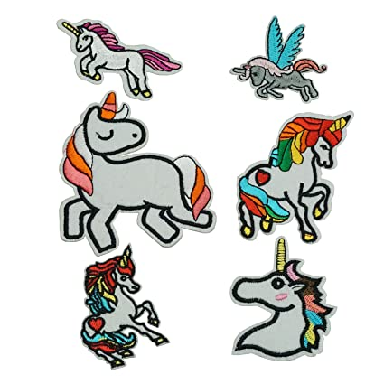 703dca416b20 Set of 6 Cute Colorful Unicorn Iron on Patches Set Cloth Badges Embroidered  Applique Sewing Patches Clothes Stickers