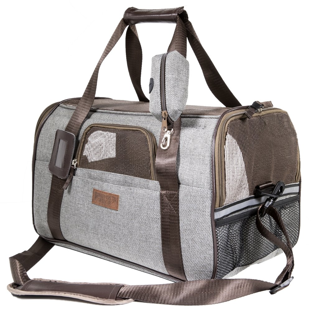 Deluxe Airline Approved Pet Carrier Under Seat - Premium Mesh/Fabric Small Dog Travel Carrier, Large Cat Carriers With Seatbelt Holder, Name Tag, Shoulder Strap & Bonus Pouch