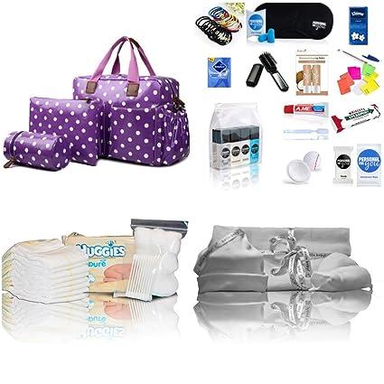 De Lujo 4 Piezas de productos Miss Lulu de hule bolsa cambiador de Hospital/Maternidad