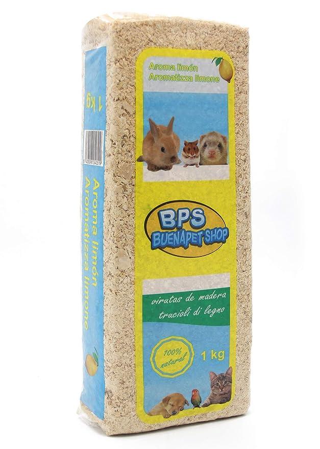 BPS Virutas de Madera Lecho Higienico para Mascotas Serrín para Gato Animales Pequeños Hámster Conejo Loro Ardilla Erizo Diferent Pack (1 Kg, Aroma Natural) ...