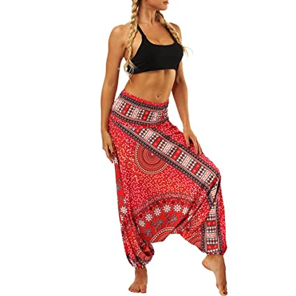 Pantalones Deportivas Niño Mujer Yoga Leggins Cintura Baggy Boho Más Tamaño Gym Danza Fitness Running Pilates Fitness