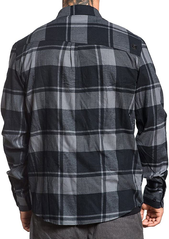 Small Sullen Oil Stain Button Up Plaid Flannel