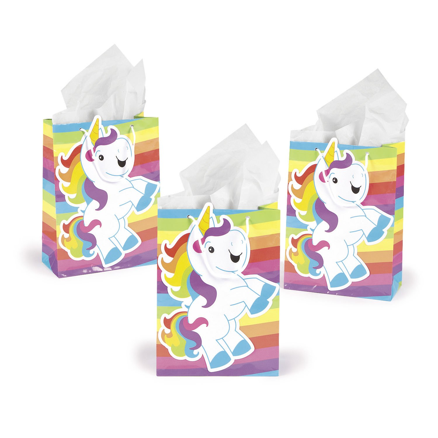 Rainbow Unicorn Gift Party Favor Bags (1 Dz) by Fun Express