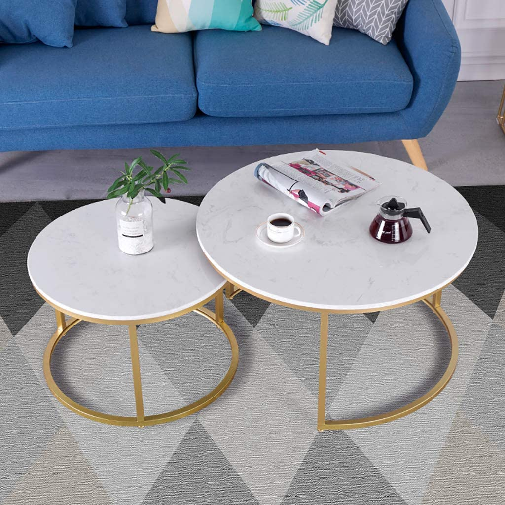 Aankoop FZH ronde salontafel van wit marmer, placemat voor café, woonkamer, multifunctioneel, decoratie voor thuis en tafel, voor cocktailtafels Gouden iP4l1Yy