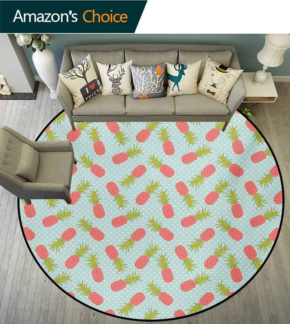 RUGSMAT Vintage Small Round Rug Carpet,Traditional Polka Dotted Background with Doodle Style Pineapple Door Mat Indoors Bathroom Mats Non Slip,Diameter-47 Inch Pale Blue Dark Coral and Green