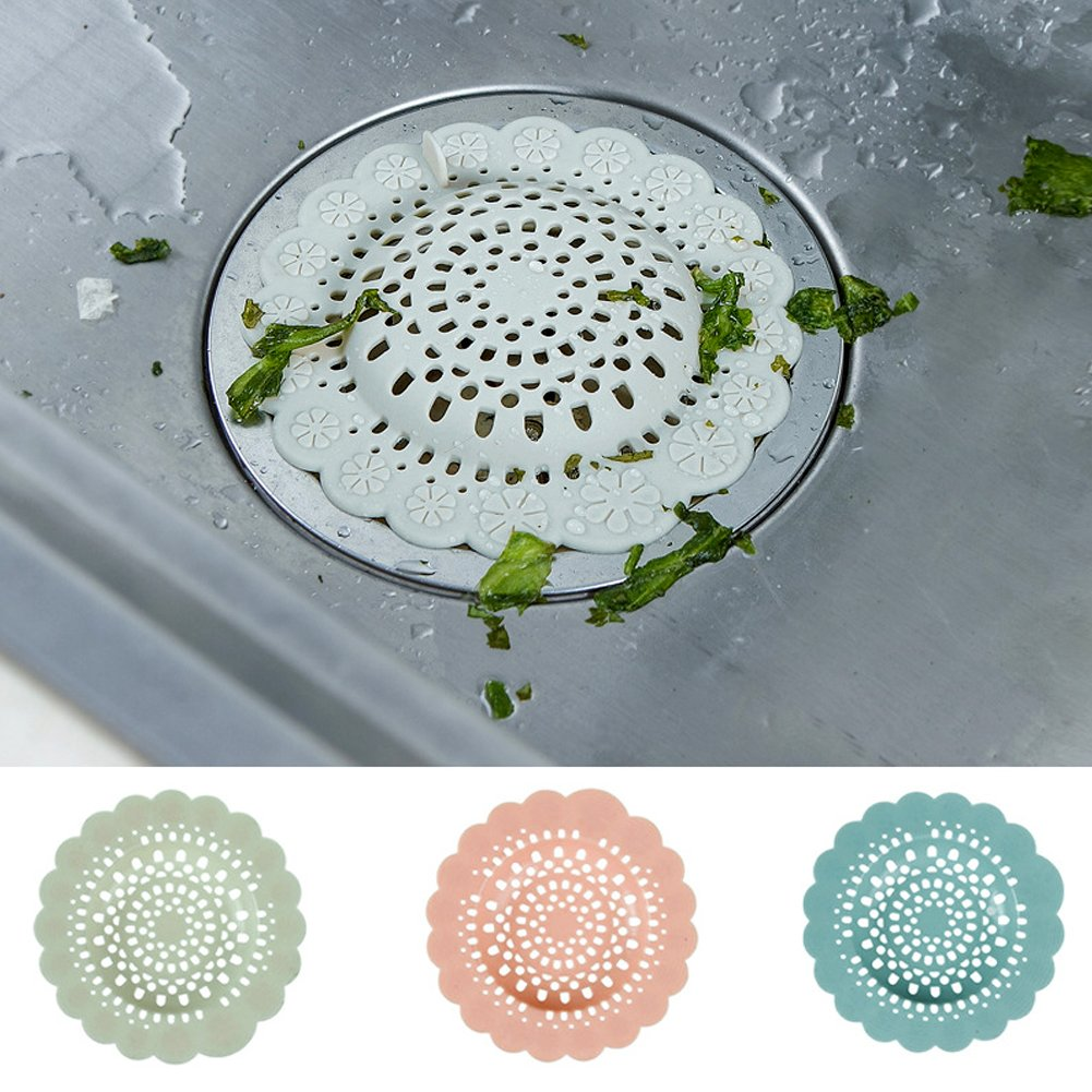 EQLEF® Silicone Flower Drain Cover Hair Catcher Bathroom Shower Drain Cover Hair Filter Sink Strainer Kitchen Sink Drain Cover Stopper Color Random (1 Pcs) TRTA11A