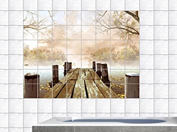 Graz Design 761681_15x15_70 Fliesenaufkleber Fliesen Dekor Bad Küche Natur  Fliesensticker Bäume Steg See Ufer Badezimmer WC