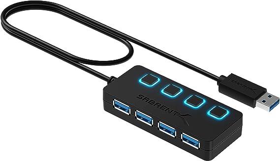 Multi Conector poderoso Usb 7-port Hub 4 Portas Hi-Speed Transferência De Dados 2.0