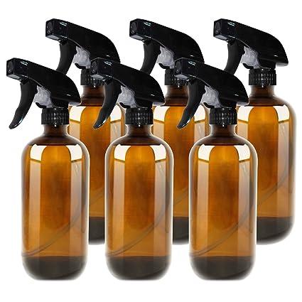 THETIS Homes Botellas de Spray vacías de ámbar Boston de 16 onzas (6 Paquete de