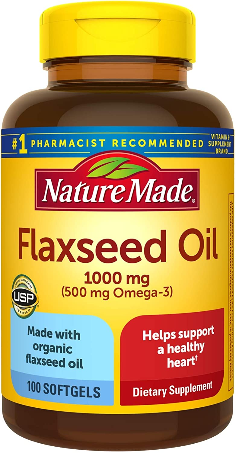 Nature Made Flaxseed Oil 1000 mg Softgels, 100 Count for Heart Health Support† (Pack of 3)