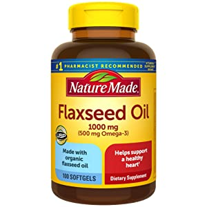 Nature Made Flaxseed Oil 1000 mg Softgels, 100 Count for Heart Health Support†