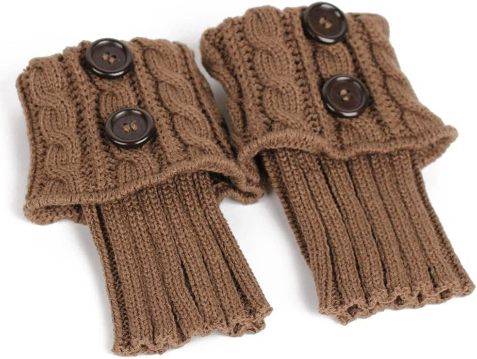 Pixnor Damen stricken Stulpen Socken Gestrickte kurzer Punkt Legwarmer Boot-Abdeckung Socken Beige