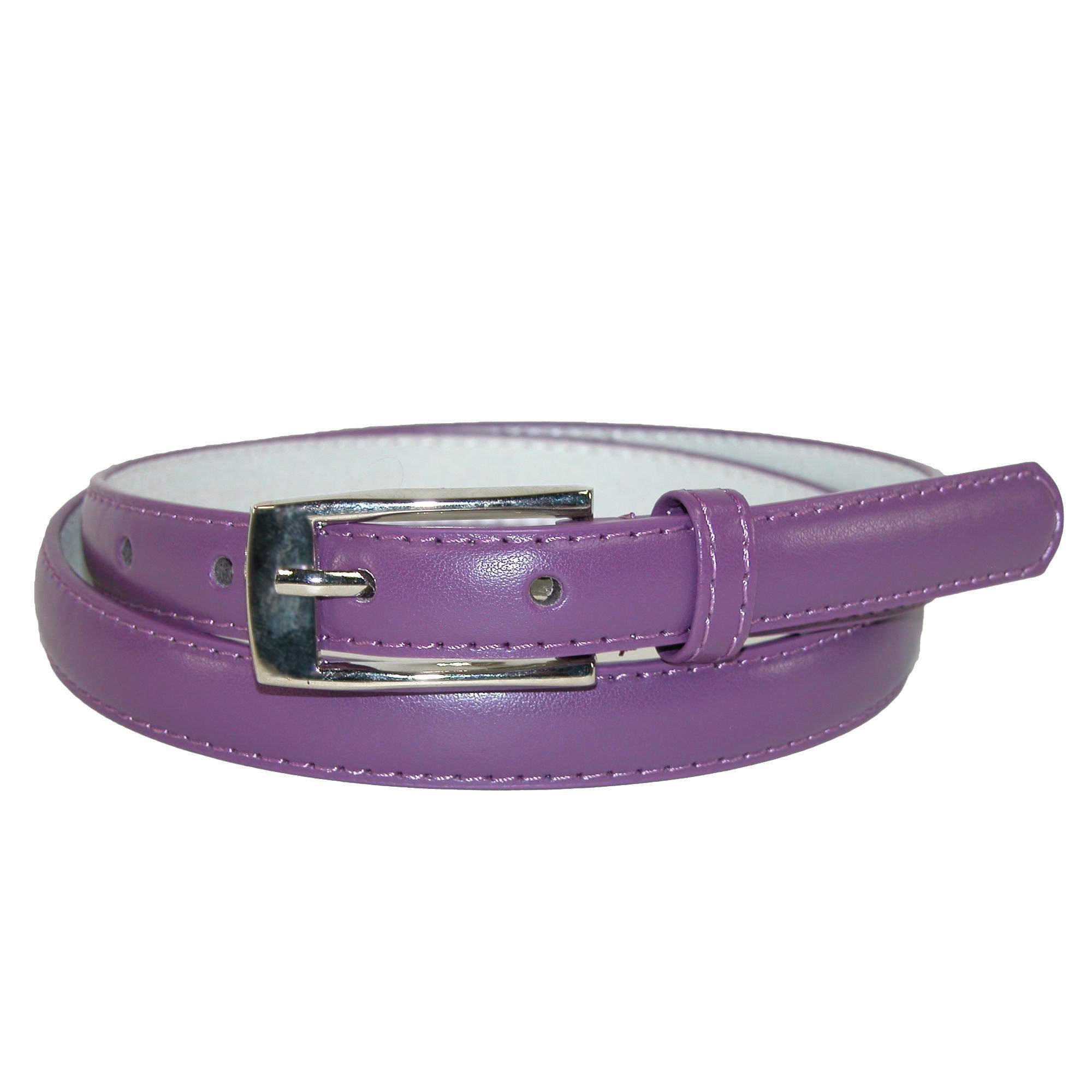 CTM Women's Leather 3/4 Inch Skinny Dress Belt, XL, Purple