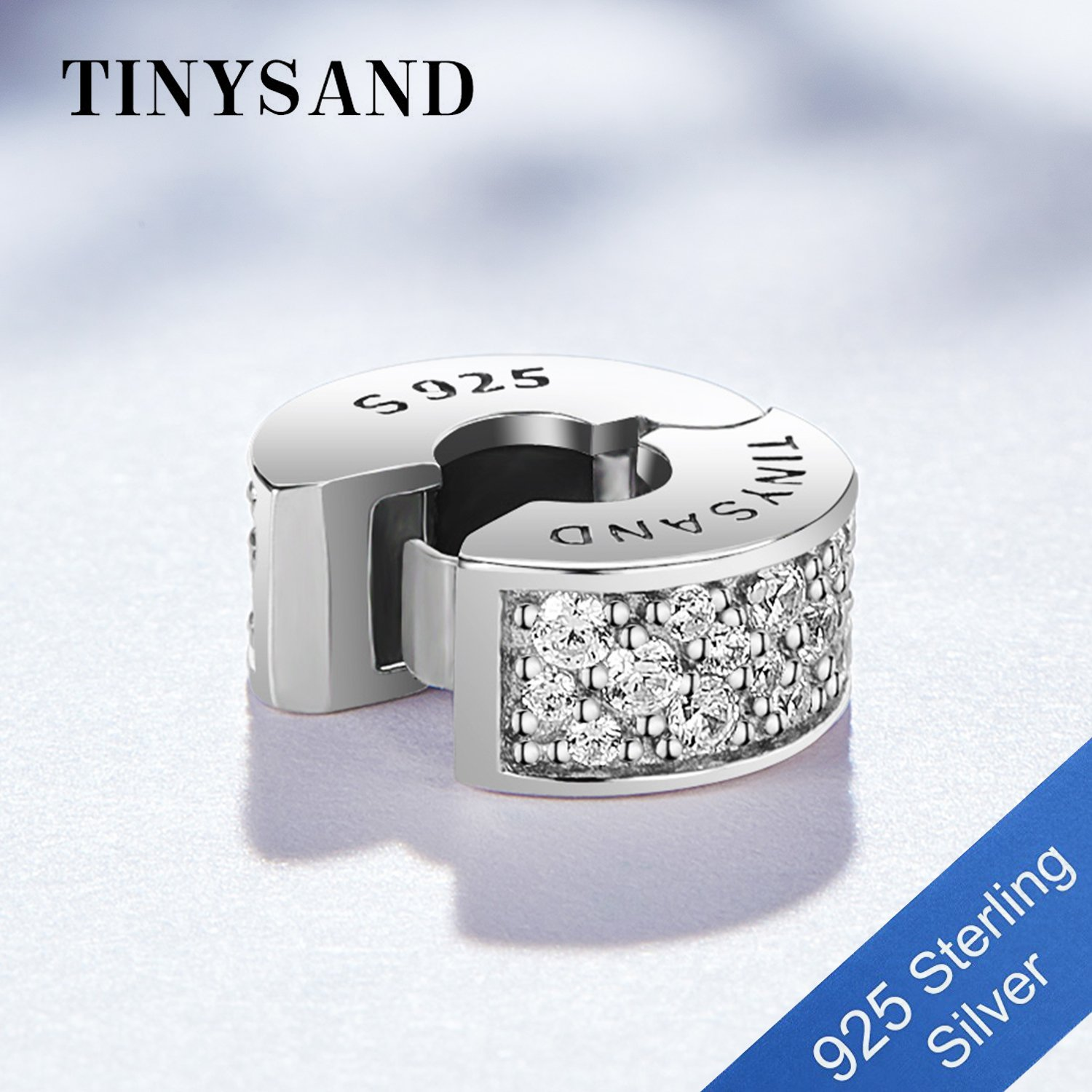 TINYSAND 925 Sterling Silver Dazzling CZ Clip Lock Stopper Spacers Charms Beads Fits European Snake Bracelet Bangle Unique Jewelry for Girls Women by TINYSAND (Image #4)