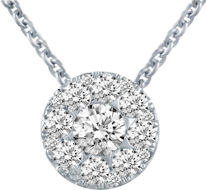 Diamond Infinity Circle Pendant 1//4ct 925 Sterling Silver