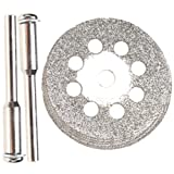 Hugesavings 10pcs 22mm Diamond Cutting Wheel with 2 Pcs Mandrel Dremel Screwdriver for Cutting Cut Off Discs Wheel Blades Gemstones Glass Set Shank Rotary Tool