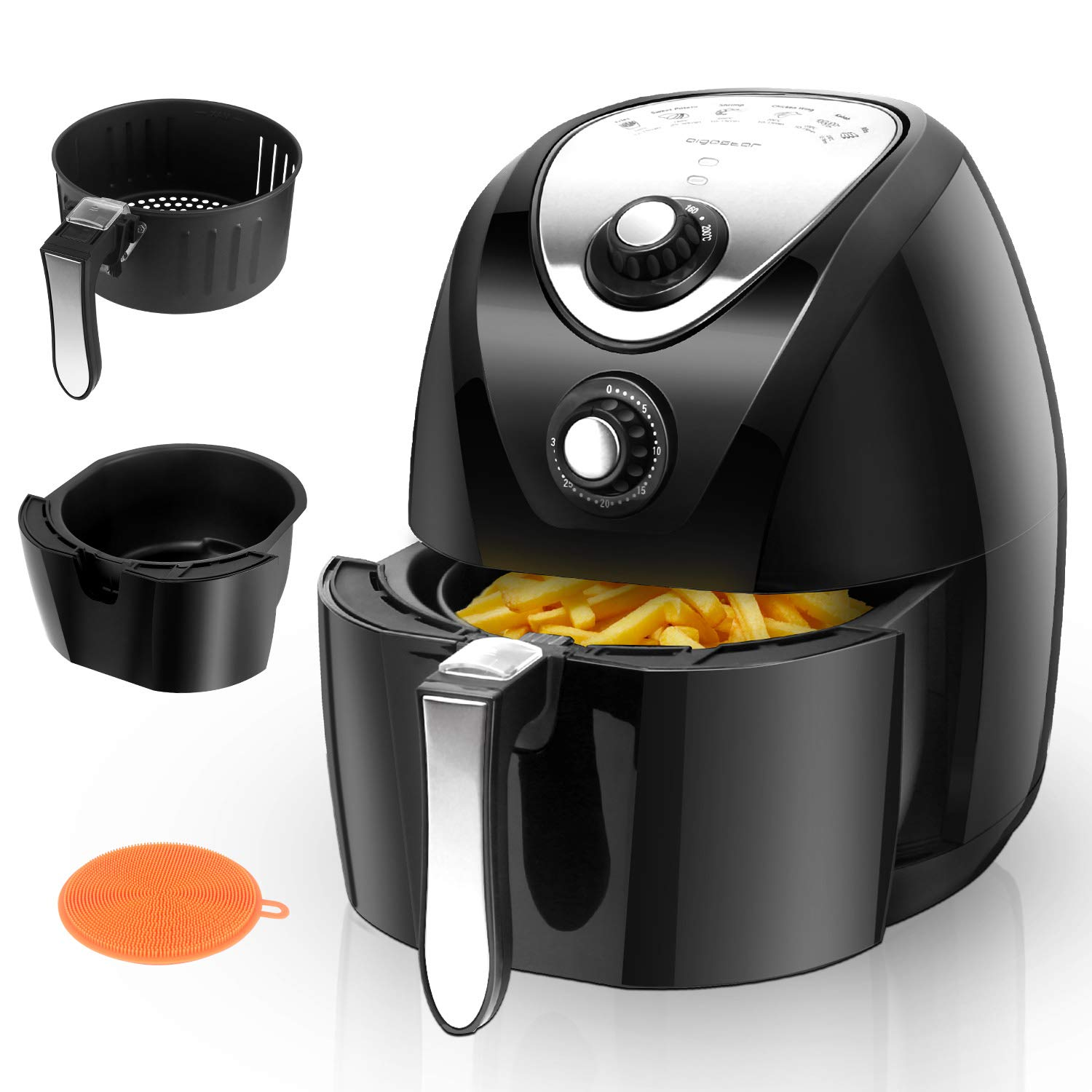 Aigostar Dragon Pro Air Fryer, 3.4Qt Electric Hot Air Fryers Oven Oilless Cooker with Detachable Non-stick Basket Automatic Timer Temperature Control for Fast Healthier Fried Food, 1400W
