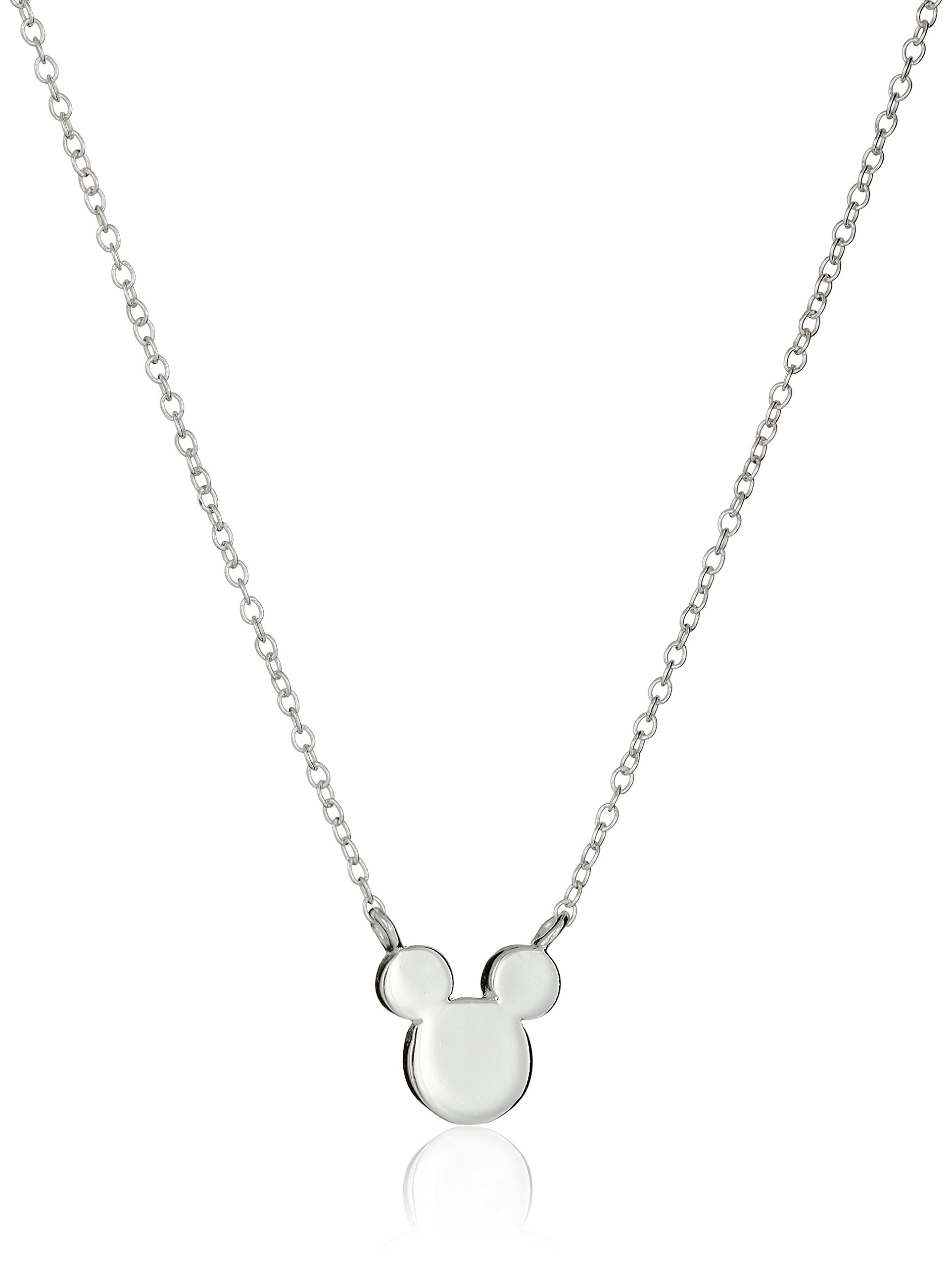 Disney Sterling Silver Mickey Mouse Silhouette Pendant Necklace, 16''+2'' Extender