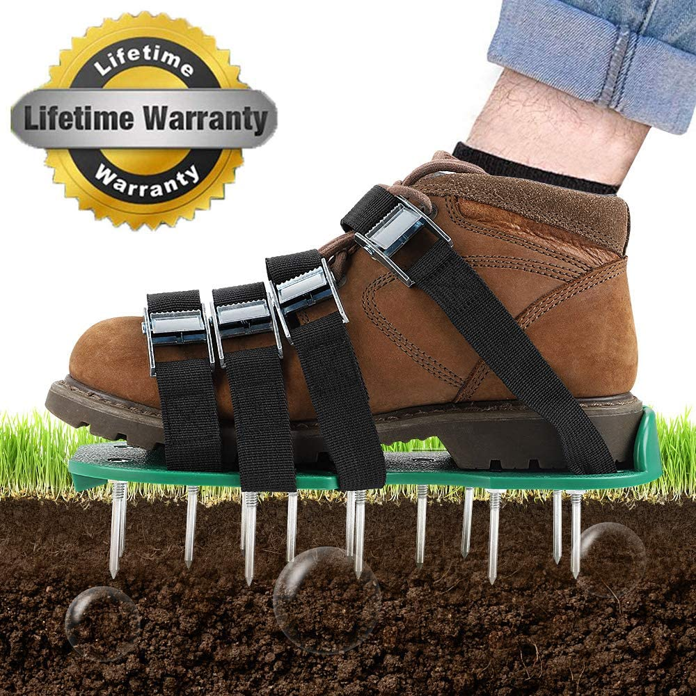 TONBUX Lawn Aerator Shoes 4 Adjustable Straps Heavy Duty Spiked Sandals Shoes