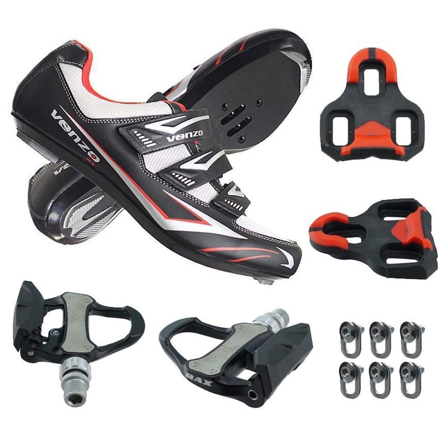 Venzo Road Bike for Shimano SPD SL Look Cycling Bicycle Shoes with Pedals 48