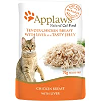 Applaws Chicken Breast with Liver Natural Wet Cat Food in Jelly - 70 g pouches, complementary food for adult cats, pack…