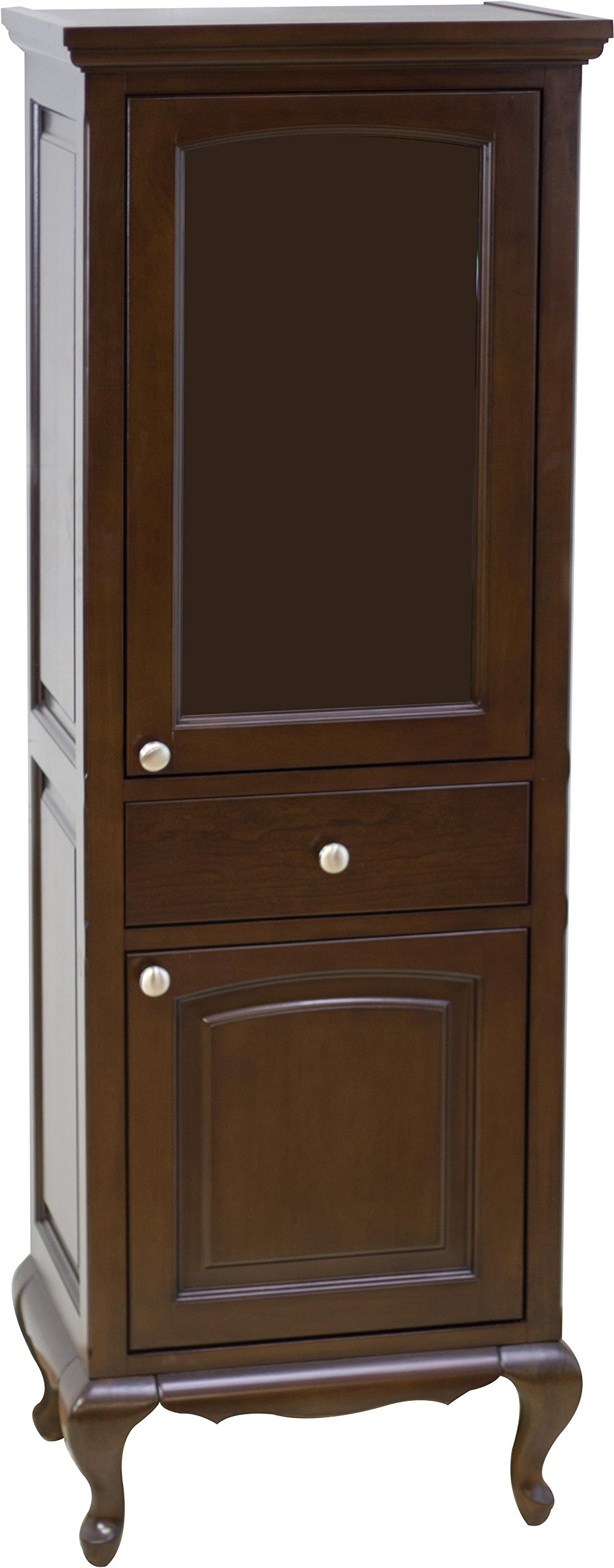 American Imaginations 57   22-Inch  Victorian Style Solid Wood Framed Linen Tower with Soft-Close Cabinet Doors, Walnut Finish