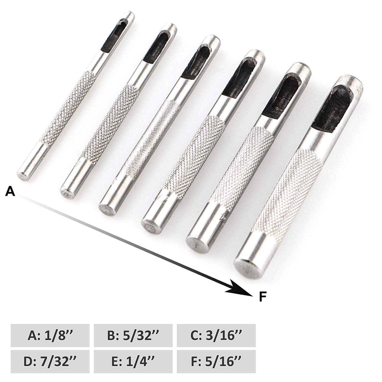 9 Pieces Hollow Leather Punch Set Heavy Duty Round Leather Hole Punch